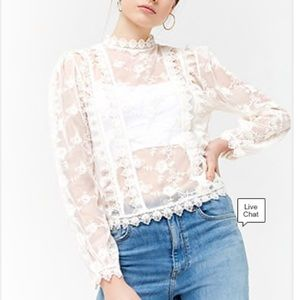 Forever 21 sheer lace blouse, SZ L